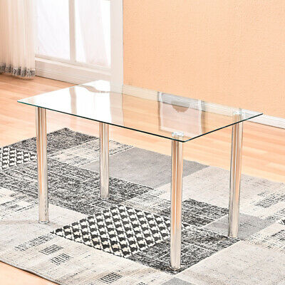 $15.50 • Buy New Modern Tempered Glass Dining Table Metal Leg Kitchen Home Furniture Clear US