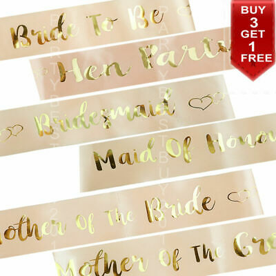 Rose Gold Hen Party Sashes Bride To Be Sash Wedding Girls Night Out Hen Do Party • 2.29£