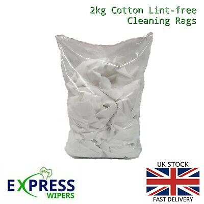 £12.99 • Buy 2kg White 100% Cotton Durable Lint-Free Polishing Cleaning Rags Wipers Cloths