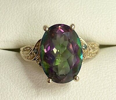 9ct Yellow Gold Mystic Topaz Ring Size L A9751 • 145£