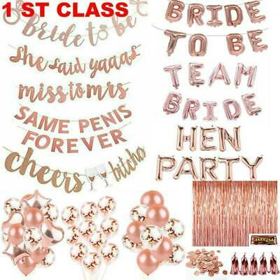 Rose Gold Bride To Be Ring Miss To Mrs Banner Bunting Balloon Sash Wedding Party • 1.39£