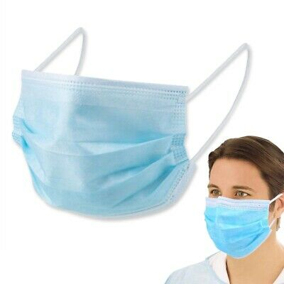 10x DISPOSABLE FACE MASKS Comfortable Elasticated Breathable Ear Loop IIR 4 Ply • 8.49£