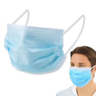 £8.49 • Buy 10x DISPOSABLE FACE MASKS Comfortable Elasticated Breathable Ear Loop IIR 4 Ply