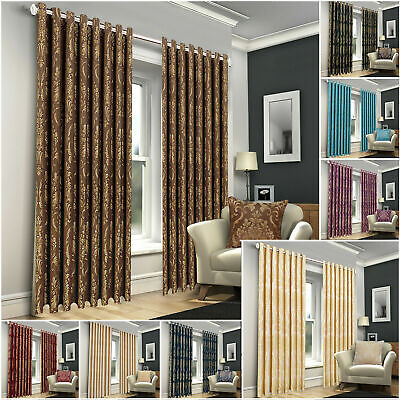 £24.99 • Buy Jacquard Curtains Ring Top Pair Fully Lined Curtain Eyelet Living Room Window