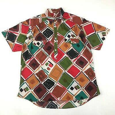 Vintage 90s ARTSY Shirt Baggy LARGE Multicoloured Ethnic Tunic Short Sleeve Men • 14.99£