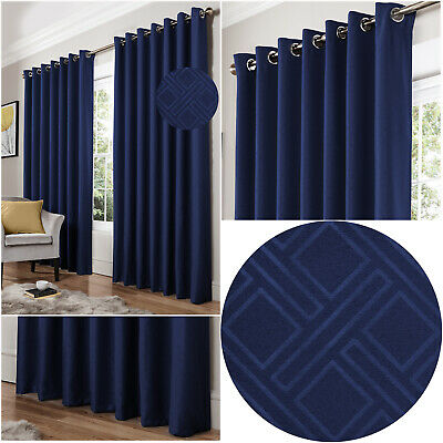 Blue Navy Diamond Geometric Woven Lined Blockout Eyelet Ring Top Curtains Pair • 19.99£