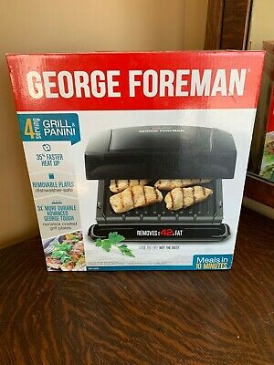 George Foreman GRP1060B 4-Serving Panini Press With Removable Plate - Black • 34.49£