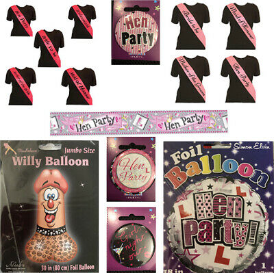 £1.49 • Buy Hen Party Foil Balloons Badges Banners Bride Maid Of Honour Sashes