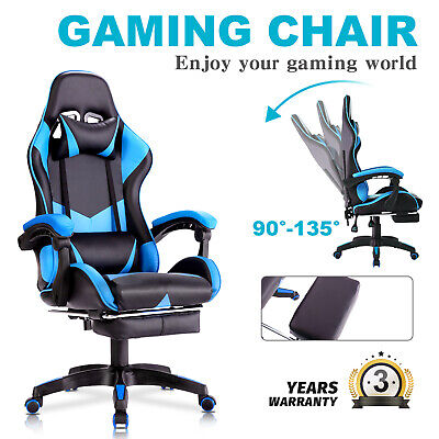AU129.90 • Buy Advwin Gaming Chair PU Leather Office Seat Ergonomic Recliner W/Footrest Blue