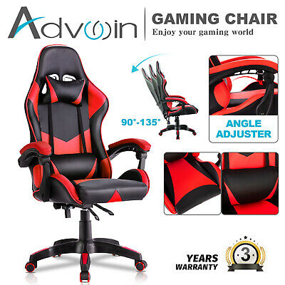 AU119.90 • Buy Advwin Gaming Chair PU Leather Executive Office Seat Ergonomic Recliner Red