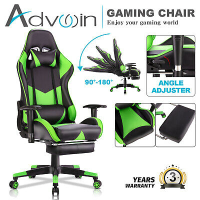 AU119.90 • Buy Advwin Gaming Chair Racing Office Chair PU Leather Ergonomic Recliner Chair Blue