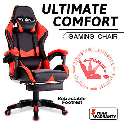 AU129.90 • Buy Advwin Gaming Chair PU Leather Office Seat Ergonomic Recliner W/Footstool Red