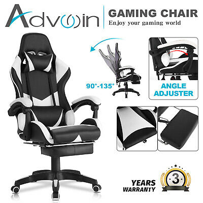 AU129.90 • Buy Advwin Gaming Chair PU Leather Office Seat Ergonomic Recliner W/Footrest White