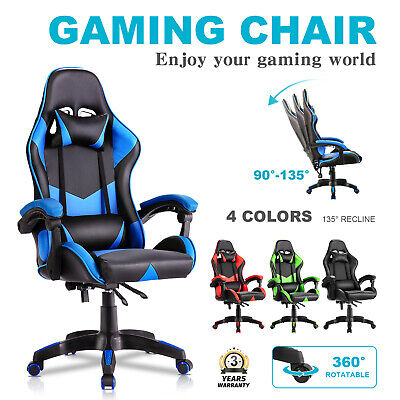 AU119.90 • Buy Executive Office Computer Gaming Chair Racer Recliner Chairs PU Leather Seat