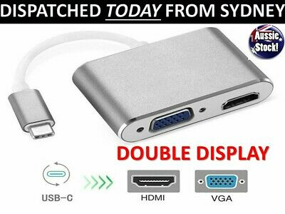 AU18.24 • Buy Type C To HDMI USB C To HDMI VGA Adapter Hub 4K 3IN1 For MacBook Pro ChromeBook