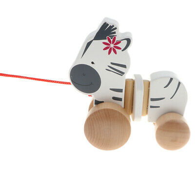 Wooden Pull Toy Push And Pull Zebra Pull Along Walking Toy For Baby Toddler • 9.55£