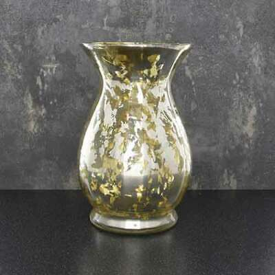 Deco Glam Glass Goblet Hurricane Vase Distressed Gold And Mirrored 21.5 Cm Tall  • 10.99£