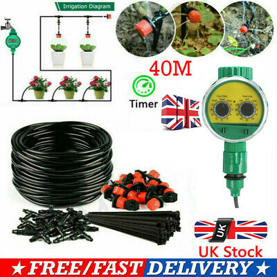 131ft Automatic Drip Irrigation System Plant+Timer Self Watering Garden Hose MU# • 28.99£