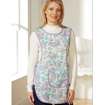 Ladies Floral Print Tabard Apron Purple Overall Pocket Work Wear One Size Clean • 4.95£