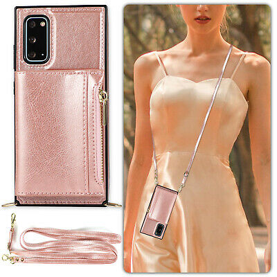 AU16.78 • Buy With Neck Strap Crossbody Square Phone Case Credit Card Holder Leather Back Skin