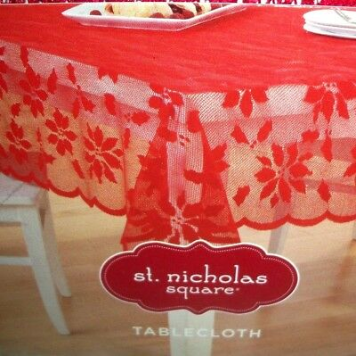 $20.69 • Buy Red Lace Tablecloth Overlay Xmas Poinsettia 60 X 84 Rectangle Scalloped Edge New