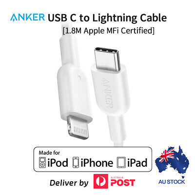 AU30.99 • Buy Anker USB C To Lightning Cable With MFi Certified USB Cable For IPhone 1.8m