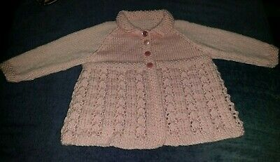AU15 • Buy Baby Jacket With Collar In A Pink Lacy Pattern Size 0