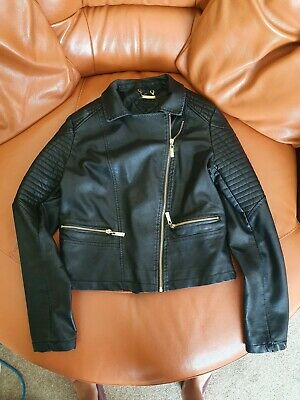 £11 • Buy Faux Black Leather Jacket With Gold Zips.Size S.Bought In USA.Great Condition
