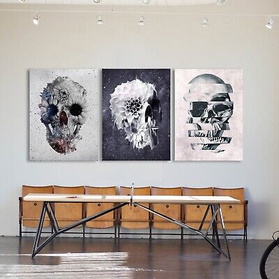 £9.49 • Buy A4 A3 Skull Print Art Wall Picture Flower Sugar Skull Home Decor Black And White