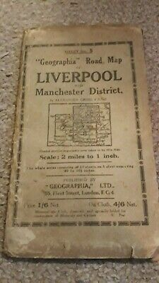£9.99 • Buy Vintage Road Map Fold Out Geographia Liverpool And Manchester Area Travel