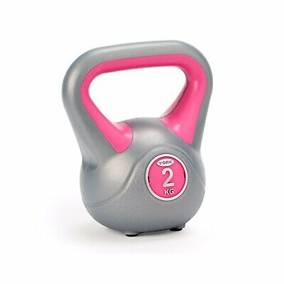 NEW York 2kg Vinyl Kettlebell Fitness Weight Strength Cardio Workout Home & Gym • 15£