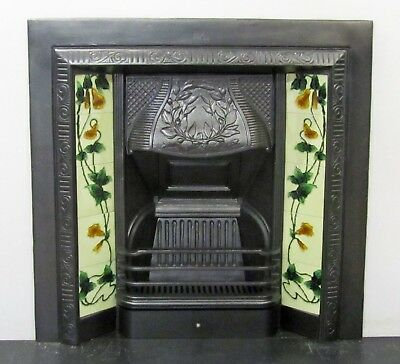 Victorian Style Cast Iron Tiled Insert Fireplace • 279£