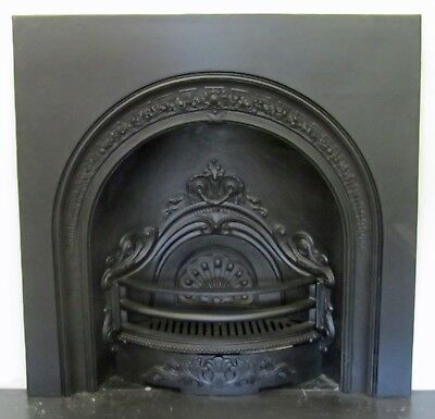 Victorian Style Black Cast Iron Arch Insert Fireplace - COLLECTION ONLY • 200£