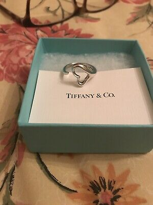 Tiffany & Co. Silver Elsa Peretti Open Heart Ring Size Large • 75£
