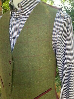£33.99 • Buy Mens Tweed Waistcoat (XL) Olive RRP £59.99 Country Shooting Hunting Check Claret