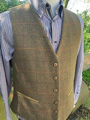 Mens Tweed Waistcoat (XXL) Brown RRP £59.99 Country Shooting Hunting Check • 32.99£