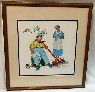 $ CDN133.30 • Buy Norman Rockwell Picture Tender Years: Mowing The Lawn 1957 Framed 24.5  X 23.5