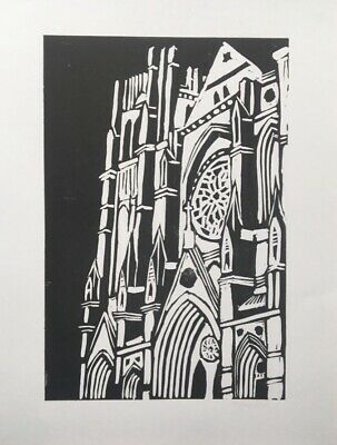 £8.99 • Buy Lino Cut Print Original Design A5 Handmade Gothic Cathedral. Limited Edition