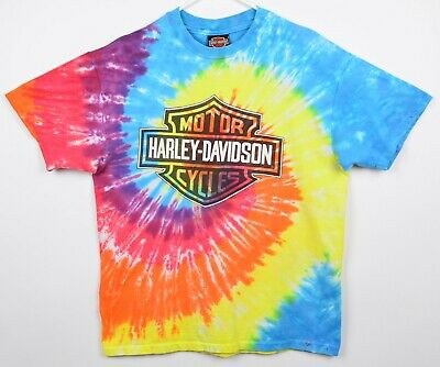 $ CDN99.99 • Buy Vintage 90s Harley-Davidson Men's Sz Large Tie Dye Bar & Shield Logo T-Shirt