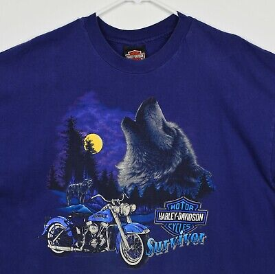 $ CDN63.99 • Buy Vintage 1993 Harley-Davidson Men's 2XL Survivor Wolf Purple Double-Sided T-Shirt