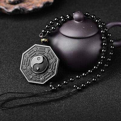 AU6.28 • Buy Black Obsidian Necklace Chinese Ying Yang Eight Diagrams Amulet Pendant Jewelry