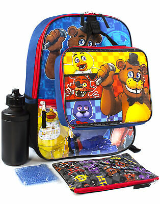 Five Nights At Freddy's FNAF School Backpack Lunch Box Water Bottle 5 Piece Set • 29.99£