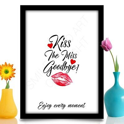 Hen Party Bride To Be Gift Accessories Keepsake KISS THE MISS GOODBYE A4 Print • 4.25£