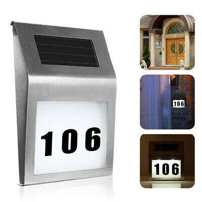 Modern Solar Powered LED Illuminated House Door Wall Plaque Number Address Light • 8.99£