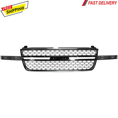 $128.55 • Buy New For Chevy Silverado Pickup Truck Fits 2005-2007 Front Grille Chrome & Gray