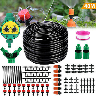 40M Micro Drip Irrigation Watering Automatic Garden Plant Greenhouse System UK • 19.69£