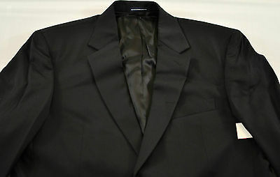 Men's Suit Coat Size 42 Long Black Solid Two Button Wool Outer Shell Collar • 10.13£