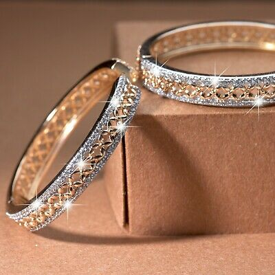 AU27.99 • Buy 18k Gold Gf Made With SWAROVSKI Crystal Huggies Filigree Pattern Hoop Earrings
