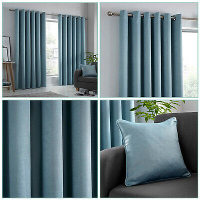 Duck Egg Thermal Blockout Dim Out Light Reducing Eyelet Ring Top Curtains Pair • 20.99£