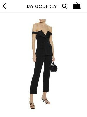$200 • Buy Jay Godfrey Tuxedo Jumpsuit Black Size 8 New With Tags NWT OffThe Shoulder RHOBH